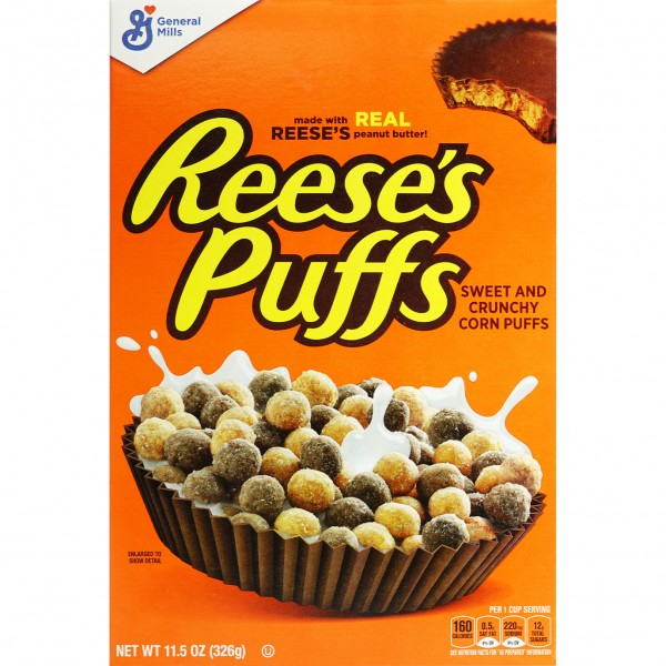 12x General Mills Reeses`s Puffs Sweet Chrunchy Cereals 326g